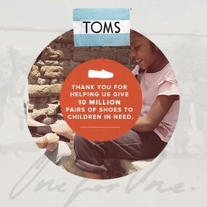 TOMS 10 MILLION SHOES